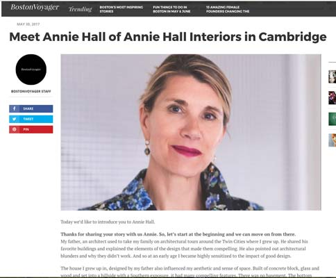 Meet Annie Hall of Annie Hall Interiors in Cambridge